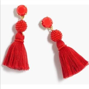J crew tassel ball earrings